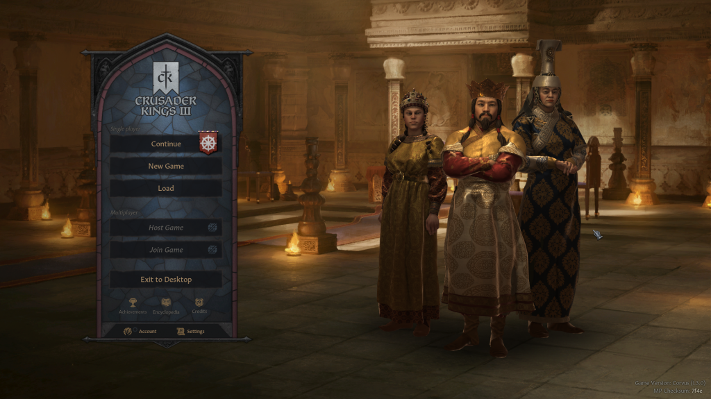 The game's starting screen will show the key members of the Dynasty that you are using in your latest Saved game
