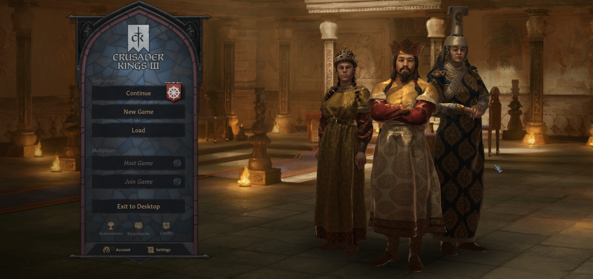 Crusader Kings 3 (CK3)'s starting screen will show the key members of the Dynasty that you are using in your latest Saved game