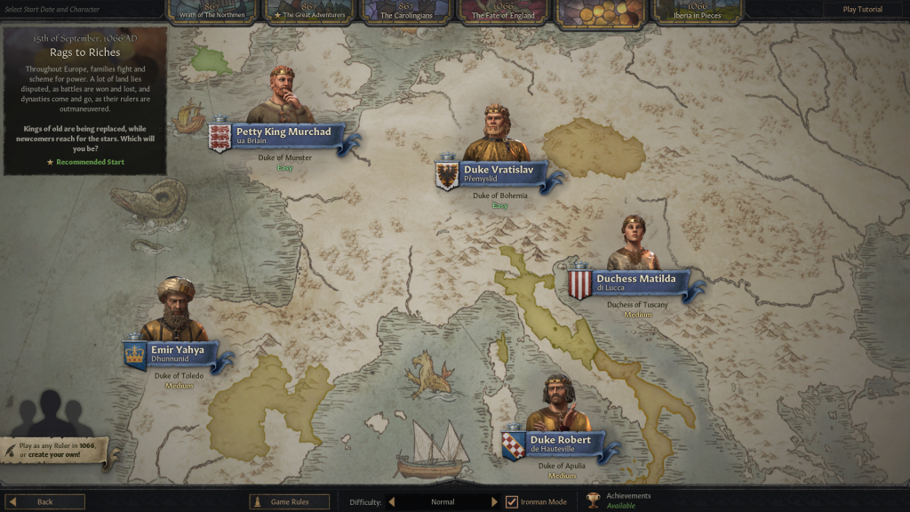 The 1066 AD starting year's Rags to Riches campaign was chosen and 5 starting characters were recommended by the game with their respective estimated difficulty level shown along with the character avatar.