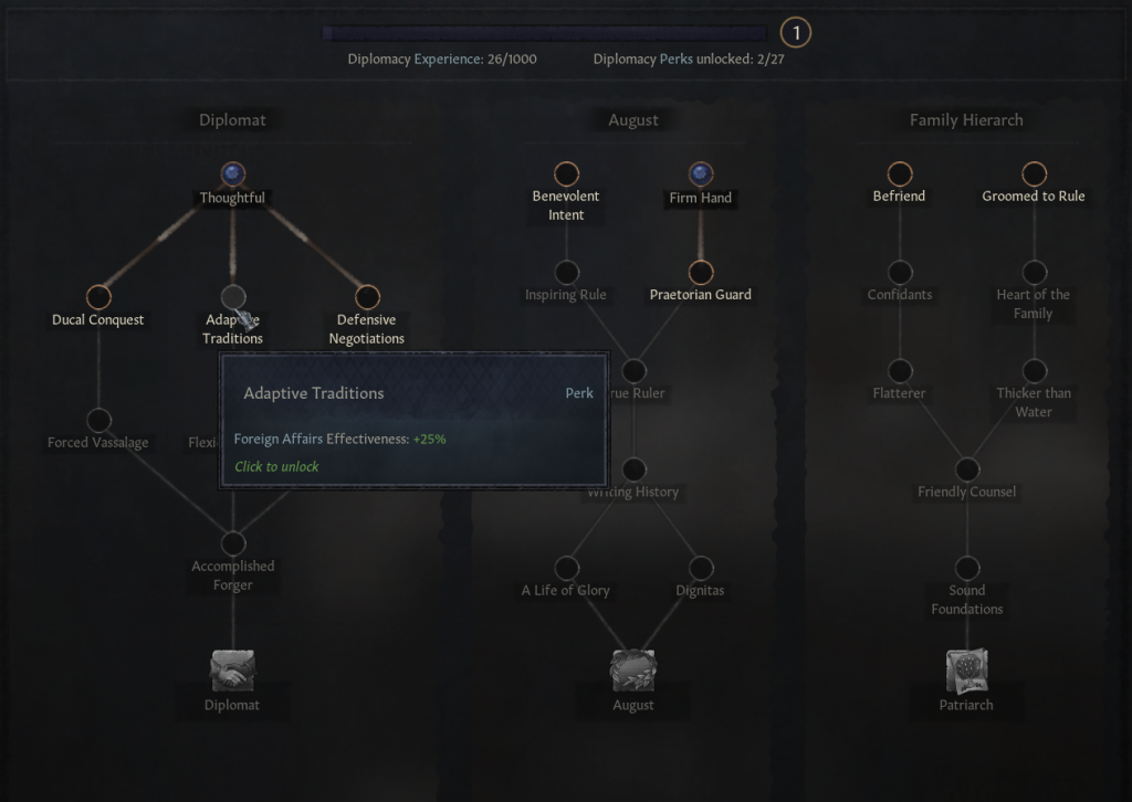 Skill Tree in Diplomacy allows you to learn Perks that could help you in Diplomacy and eventually gain a Trait with further boost!